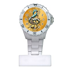 Music, Clef With Fairy And Floral Elements Nurses Watches