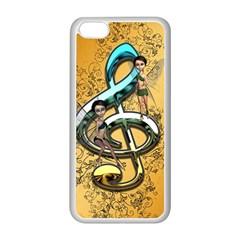Music, Clef With Fairy And Floral Elements Apple iPhone 5C Seamless Case (White)