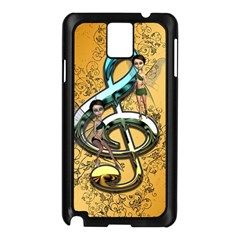 Music, Clef With Fairy And Floral Elements Samsung Galaxy Note 3 N9005 Case (black)