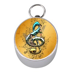 Music, Clef With Fairy And Floral Elements Mini Silver Compasses