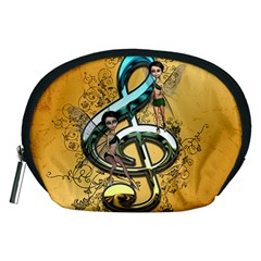 Music, Clef With Fairy And Floral Elements Accessory Pouches (Medium)