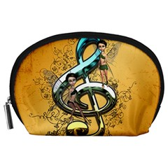 Music, Clef With Fairy And Floral Elements Accessory Pouches (Large)