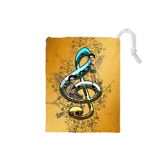 Music, Clef With Fairy And Floral Elements Drawstring Pouches (Small)