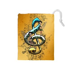 Music, Clef With Fairy And Floral Elements Drawstring Pouches (Medium)