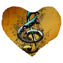 Music, Clef With Fairy And Floral Elements Large 19  Premium Flano Heart Shape Cushions