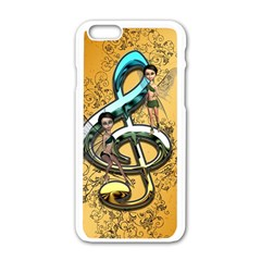 Music, Clef With Fairy And Floral Elements Apple iPhone 6/6S White Enamel Case