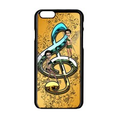 Music, Clef With Fairy And Floral Elements Apple iPhone 6/6S Black Enamel Case