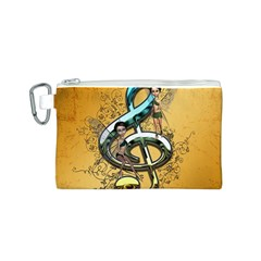 Music, Clef With Fairy And Floral Elements Canvas Cosmetic Bag (S)