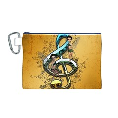 Music, Clef With Fairy And Floral Elements Canvas Cosmetic Bag (M)