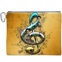Music, Clef With Fairy And Floral Elements Canvas Cosmetic Bag (XXXL)