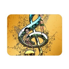Music, Clef With Fairy And Floral Elements Double Sided Flano Blanket (mini)