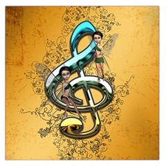Music, Clef With Fairy And Floral Elements Large Satin Scarf (square)