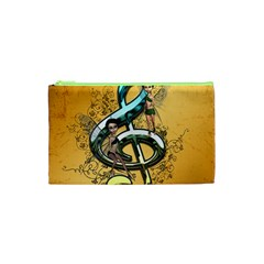 Music, Clef With Fairy And Floral Elements Cosmetic Bag (XS)