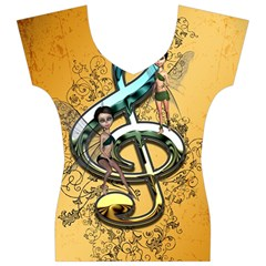 Music, Clef With Fairy And Floral Elements Women s V-Neck Cap Sleeve Top