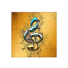 Music, Clef With Fairy And Floral Elements Satin Bandana Scarf