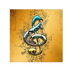 Music, Clef With Fairy And Floral Elements Small Satin Scarf (square)