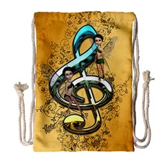 Music, Clef With Fairy And Floral Elements Drawstring Bag (Large)