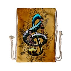 Music, Clef With Fairy And Floral Elements Drawstring Bag (Small)