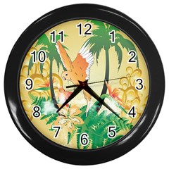 Funny Budgies With Palm And Flower Wall Clocks (Black)