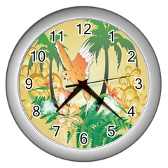 Funny Budgies With Palm And Flower Wall Clocks (Silver)