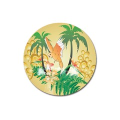 Funny Budgies With Palm And Flower Magnet 3  (Round)