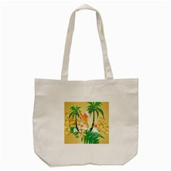 Funny Budgies With Palm And Flower Tote Bag (Cream)