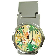 Funny Budgies With Palm And Flower Money Clip Watches