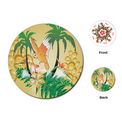 Funny Budgies With Palm And Flower Playing Cards (Round)
