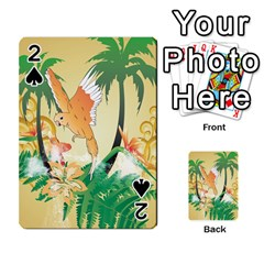 Funny Budgies With Palm And Flower Playing Cards 54 Designs