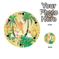 Funny Budgies With Palm And Flower Playing Cards 54 (round)