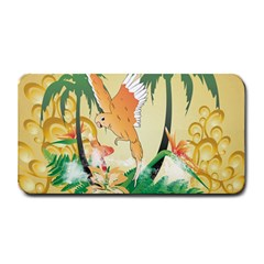 Funny Budgies With Palm And Flower Medium Bar Mats