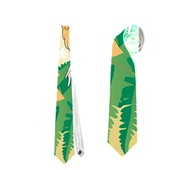 Funny Budgies With Palm And Flower Neckties (One Side)