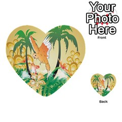Funny Budgies With Palm And Flower Multi Purpose Cards (heart)