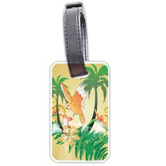 Funny Budgies With Palm And Flower Luggage Tags (Two Sides)