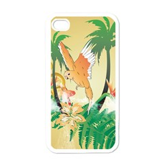Funny Budgies With Palm And Flower Apple iPhone 4 Case (White)