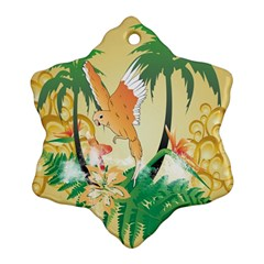 Funny Budgies With Palm And Flower Ornament (Snowflake)