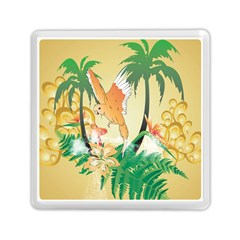 Funny Budgies With Palm And Flower Memory Card Reader (square)