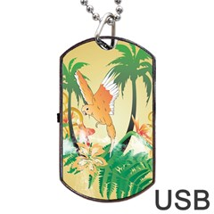 Funny Budgies With Palm And Flower Dog Tag USB Flash (One Side)