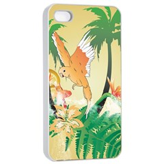 Funny Budgies With Palm And Flower Apple iPhone 4/4s Seamless Case (White)