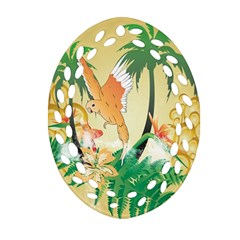 Funny Budgies With Palm And Flower Ornament (Oval Filigree)