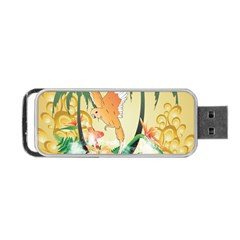 Funny Budgies With Palm And Flower Portable USB Flash (One Side)