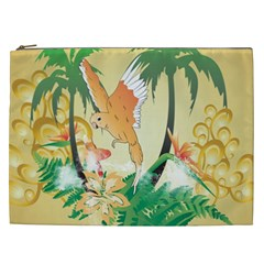 Funny Budgies With Palm And Flower Cosmetic Bag (XXL)