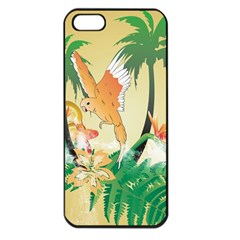 Funny Budgies With Palm And Flower Apple iPhone 5 Seamless Case (Black)