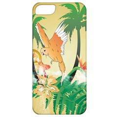 Funny Budgies With Palm And Flower Apple iPhone 5 Classic Hardshell Case