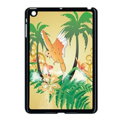 Funny Budgies With Palm And Flower Apple iPad Mini Case (Black)