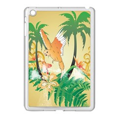 Funny Budgies With Palm And Flower Apple iPad Mini Case (White)