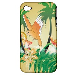 Funny Budgies With Palm And Flower Apple iPhone 4/4S Hardshell Case (PC+Silicone)
