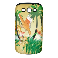 Funny Budgies With Palm And Flower Samsung Galaxy S III Classic Hardshell Case (PC+Silicone)