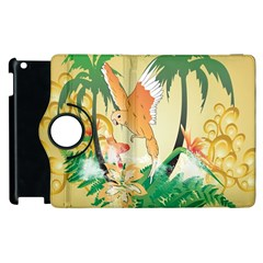 Funny Budgies With Palm And Flower Apple iPad 3/4 Flip 360 Case