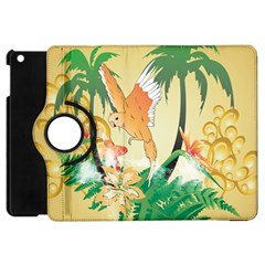 Funny Budgies With Palm And Flower Apple iPad Mini Flip 360 Case